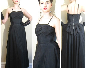 Vintage 1940s Black Evening Dress / 40s Sleeveless Black Party Dress with Bustle Bow / Extra Small