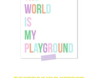 Rainbow Nursery, Playroom Decor, Multicolor Kids Art, Pastel Nursery Art, Playroom Prints, Rainbow Baby Print, Nursery Decor