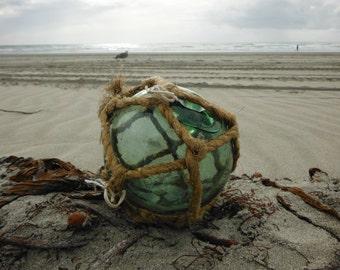 """Japanese Glass Fishing Float - 4"""" diameter, Original Net, Light Green"""