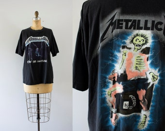 1980s Lightning Storm rare metallica t-shirt / 80s rock n' roll