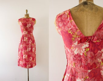 1960s Luscious Garden floral sateen wiggle dress / 60s shades of pink