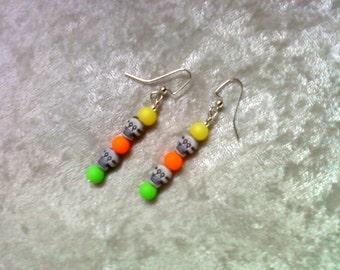 Neon Orange, Yellow and Green Skull Earrings (1003)