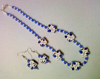 Blue and Tan Necklace and Earrings (0288)