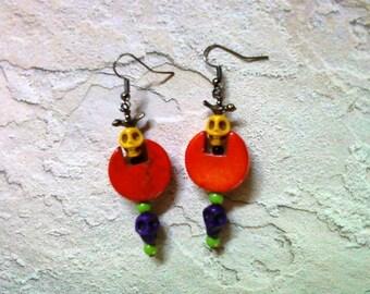 Orange, Yellow, Purple, Green and Black Halloween Earrings (1537)