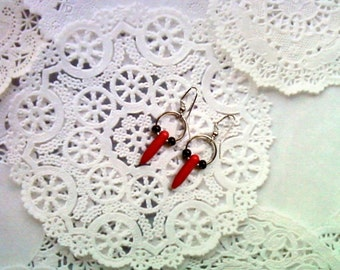 Red and Black Spike Earrings (1745)