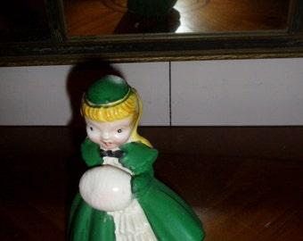 50s  Ceramic KREISS Bloomer Girl Figure Winter Hat  Muff