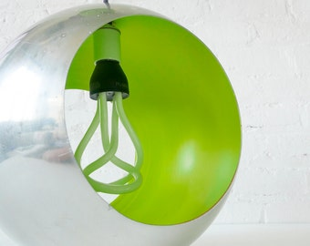 Venomous Shade Lime Retro Globe Pendant - Frosted Glass Plumen - Mod Collectable Hanging Light - Plum Textile Cord - Mid Century - OOAK