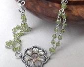 Vermeil connector, mother of pearl, sterling silver, peridot bracelet, double strand, green beaded bracelet, wear everyday, flower bracelet