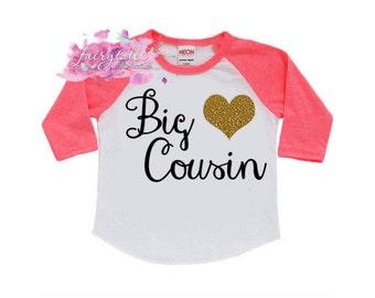 Big Cousin Shirt - Big Cousin Shirt in Black, Pink or Blue Raglan with Glitter Heart - Big Cousin Raglan