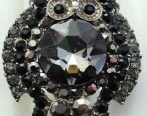 Owl Cocktail Ring/Rhinestone/Gray/Black/Gift/Statement Ring//Unisex Ring/Fall Jewelry/Animal/Bird/Under 20 USD/Adjustable