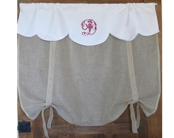 "Sheer Roller Shade, Ecru French Linen Fleur de Lis Window Valance, Victorian Embroidered Monogram, Bathroom Tie up Panel, 52"" Length"