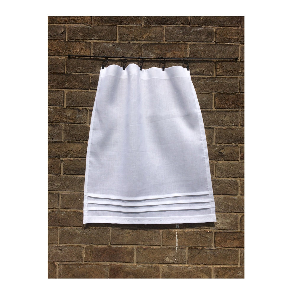 Pure Linen Custom Cafe Curtain White Kitchen Bathroom