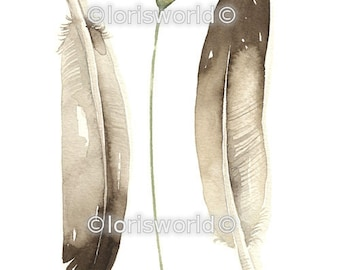 Watercolor Original Painted Art Feather by Lorisworld - COLLECTION No.47
