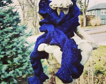 Ruffled Sapphire Blue sparkle scarf