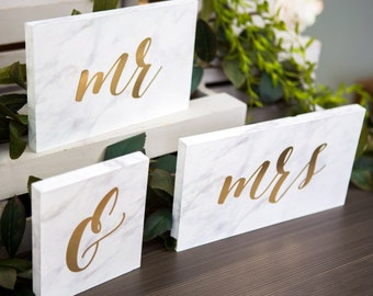 Mr & Mrs Signs for Wedding Sweetheart Table Decor Marble Metallic Minimalist Boho Chic Faux Marble Signs for Wedding Tables (Item - MSM600)