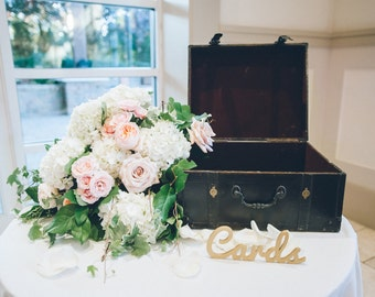 """Wedding Cards Sign for Card and Gift Table, Wooden Cutout or Party Card Table, """"Cards"""", Rustic Wedding Sign Reception Decor (Item - LCA100)"""