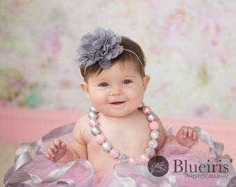 Baby Headband, Grey Flower Headband, Gray Headband, Chiffon Lace Flower Headband, Toddler Headband, Baby Girls Headband, Newborn Headband
