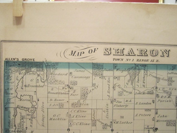 Antique Plat Map and Print - Plat Map of Sharon, Wisconsin and Sketches of Residences of Sharon