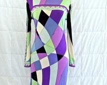 vintage Pucci dress - 1960s Emilio Pucci purple mod-print silk jersey dress
