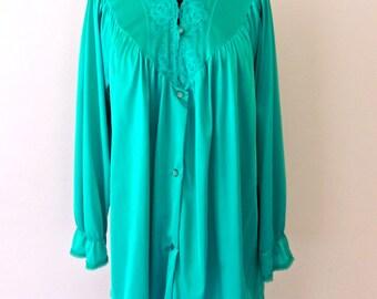 SALE vintage silky teal pajamas - 1960s Nancy King lacy pajama lingerie set