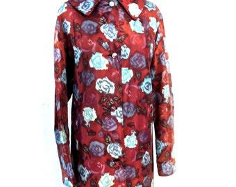 vintage silk floral coat - 1940s-50s brown/navy watercolor print lightweight jacket coat
