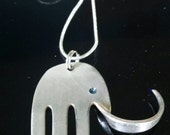 Elephant Necklace ~ Upcycled Jewelry ~ Silver Necklace ~ Eco Friendly ~ Spoon Jewelry ~ Fork Jewelry ~ Unique Gift Ideas ~ For Animal Lovers