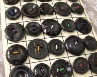 Vintage Buttons on Bingo Game Card - Black Plastic Collection
