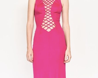 70s criss cross maxi dress