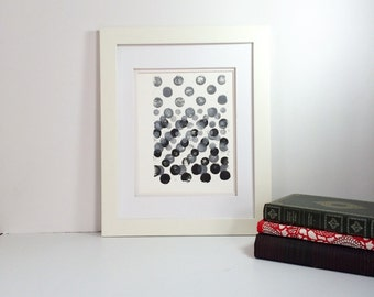 Black, Grey and White minimal linocut art 9x12 limited edition