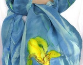 silk scarf hand painted Wild Iris long yellow blue crepe unique wearable art women gift