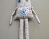 linen stuffed imaginary animal - nursery decor - teal and linen - birthday gift - cute stuffed doll