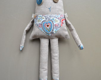 linen stuffed imaginary animal - nursery decor - teal and linen - birthday gift - cute stuffed doll