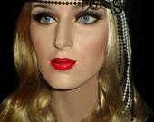 BLACK & WHITE SOIREE Gatsby Headband, Black And White Pearl Beaded Art Deco Flapper Headband, Great Gatsby Headpiece, Roaring 20s Headband