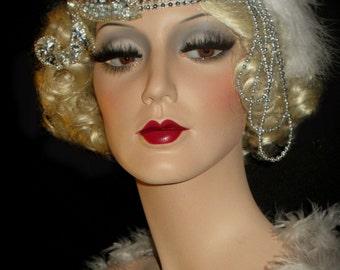 COTTON CLUB SOIREE- Silver Gatsby Headband, 20s Art Deco Great Gatsby Headpiece, Silver Shimmy Flapper Headband, Old Hollywood Forehead Band
