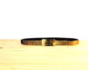 Vintage Gold Fish Scale Belt / Gold Metal Belt / Thin Skinny Belt / High Waist Belt / Mermaid Scale Belt L XL