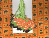 6 Nostalgic Art Graphic Tags - Witch Carving Pumpkin Design - Halloween Decorations