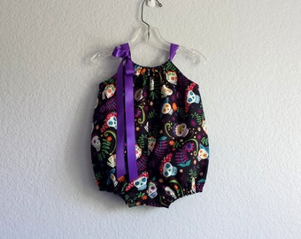 New! Day of the Dead Bubble Romper - Sugar Skulls on Black - Baby Girls Day of the Dead Sun Suit - Size Nb, 3m, 6m, 9m, 12m or 18m