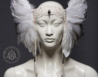 White feather headdress / Valkyrie winged headpiece / Pagan wedding headdress / Tribal fusion headdress / Burning man / LARP / Cosplay