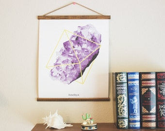 Pull Down Chart - Amethyst PolyMineral Pull Down Chart - The Wanderful Soul Collaboration Gems Crystals Canvas Bohemian Wall Hanging - WS01