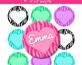 "Zebra Heart Bottle Cap 1"" Circle Images - Editable JPEG - Customizable Digital Collage Sheet - NO. 266"
