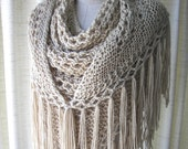 BONE Hand Knit Shawl Triangle Scarf Fringes in SOFT Acrylic /  Bridal Shawl / Taupe Brown shawl