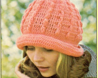 vintage crochet pattern popcorn cluster bobble cable beret hat ladies womens girls brim bowler printable pdf download