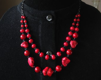 Red Coral and Hematite- Anatomical Hearts Necklace & Earring Set - Mid Century  Modern - Vintage Inspired