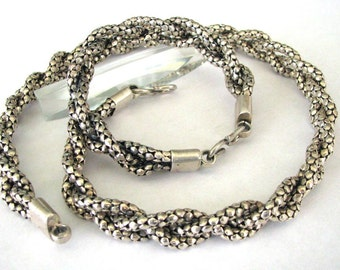 Vintage Indonesian Diamond Wheat Link Woven Chain Necklace, Bracelet Set, 13mm, Genuine, Heavy, Solid, High Grade Silver,135 Grams(4.740oz.)