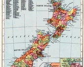 NEW ZEALAND map, 1930s vintage NZ map with Wellington and Auckland, map decor