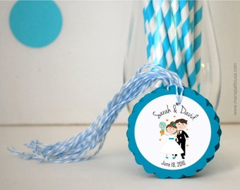 12 Wedding tags, handmade Favor Tags,  Bride and Groom Gift Tags, Thank you tags, Wedding Party Favor,  twine on the side, A1284