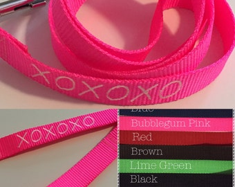 Dog Leash XOXOXO Personalized Select Leash Color at Checkout Other Personalizing Ideas Pink in Descriptions