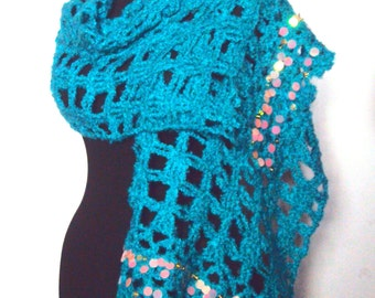 CLEARANCE SALE! Crochet Shawl Scarf Turquoise Shoulder Wrap Rectangular Scarf Festival Shawl Women Fashion Accessories   Free Shipment