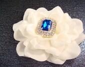 Bridal white hair flower with blue rhinestones / vintage art deco wedding / glamorous white flower clip rhinestone flower comb