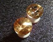RICH CHAMPAGNE rhinestone ear plugs / rivoli champagne topaz rhinestone gauges tunnels / 6-12mm